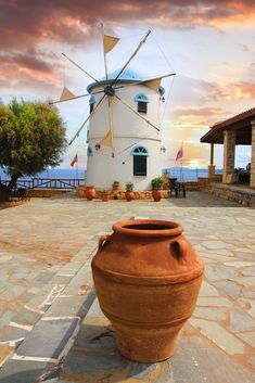 Traditional Windmill in Zakynthos, Greece