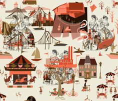 Chattanooga Toile by Chickoteria on Spoonflower. // via @ModernSauce. Wallpaper, fabric, or vinyl.
