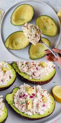 This healthy chicken salad recipe is lightened up using Greek yogurt instead of mayonnaise. So creamy, flavorful, and easy to make. A simple chicken salad recipe that can be used top over salads, made into a sandwich and stuffed in avocados.