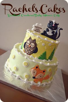 woodland theme baby shower cake @Suzie Eastough the fox on this is so cute!