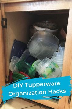 DIY Tupperware Organization Hacks My food storage container cabinet was a stinkin' hot mess, so I decided to get a little organized. I decided to combine a couple of different methods I have seen used before. Organisation Hacks, Organizing Hacks, Diy Organization, Cleaning Hacks, Hacks Diy, Organization Station, Organising, Diy Organizer, Kitchen Cupboard Organization