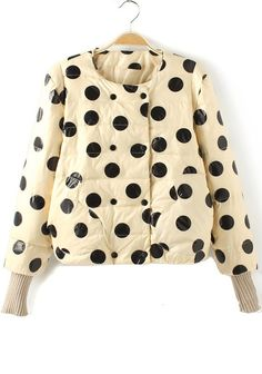 collarless jacket, puffer, black and white, cream, polka dot, winter, graphic impact, padded coat from: cichic