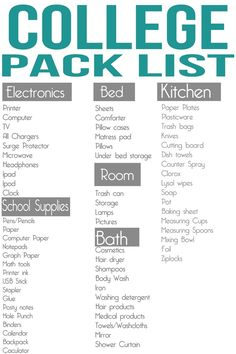 College Pack List- good school supplies list