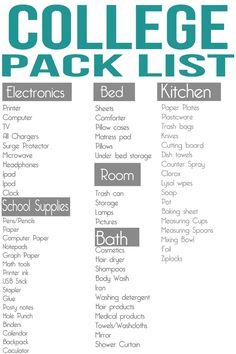 College Pack List- good school supplies list