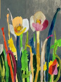 peinture japonaise : Miroco Machiko, fleurs