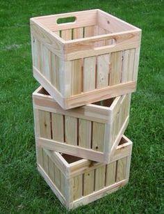 Make your own milk crates then stencil carve or engrave. - - Make your own milk crates t Wooden Projects, Furniture Projects, Diy Furniture, Diy Projects, Furniture Plans, Pallet Projects, Furniture Chairs, Furniture Online, Furniture Stores