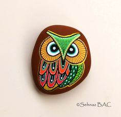 Hand Painted Stone Owl