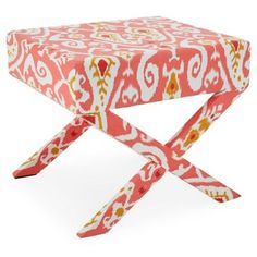 Check out this item at One Kings Lane! Lily Ikat Stool, Salmon