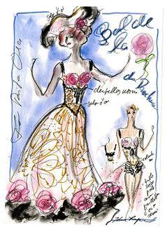 CHANEL-Sketch para Baile de la rosa en Mónaco