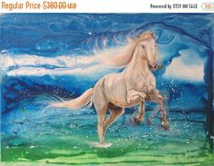75% OFF Contemporary Horse Art, Original Horse Painting, Horse Decor, Large Oil Painting, Blue Running Horse Wildlife Painting, Pure Freedom by EvaVolfArt on Etsy