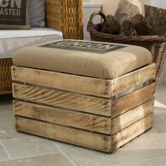 Coffee sack upholstered crate storage seat - Contemporary patchwork quilts | Throws |kids bedspreads | handcrafted wooden crates | cushions