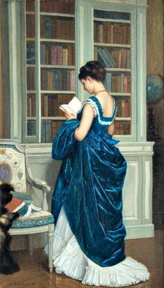 In the Bibliotheque Auguste Toulmouche (French, Oil on can . - In the Bibliotheque Auguste Toulmouche (French, Oil on canvas. Reading Art, Woman Reading, Auguste, Victorian Art, Victorian Paintings, Rococo Painting, Dress Painting, Painting Art, Beautiful Paintings