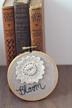 "Bloom: Embroidery Hoop Art. Inspirational. 4"" Vintage Hoop and Doily. $20.00, via Etsy."