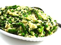 Skinny Asparagus Risotto…Mmm Risotto is one of Italy's great culinary contributions. In Italy, risotto is often served as a first course or side dish for meat or fish. The skinny for each delicious serving is 281 calories, 6g fat and 7 Weight Watchers POINTS PLUS.