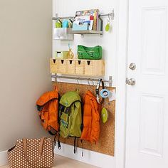 """Good idea with the shower rails.  Could make this a """"command centre"""" with a whiteboard/calendar/pinboard above the rails too?"""