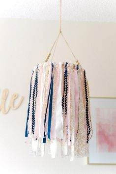DIY Pink and Navy Blue Fabric and Ribbon Mobile