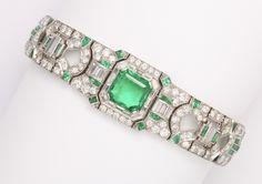 J.E. Caldwell Art Deco Emerald Diamond Platinum Bracelet