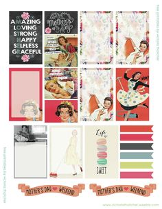 Free Printable Mother's Day Planner Stickers from Victoria Thatcher