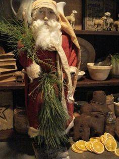 Prims...Santa, grunged gingers, & putz sheep...pine.