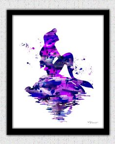 Mermaid art, Mermaid art print, Ariel print, Purple Mermaid, Disney Ariel, Little Mermaid, Nursery Decor, Little Mermaid, Mermaid Print