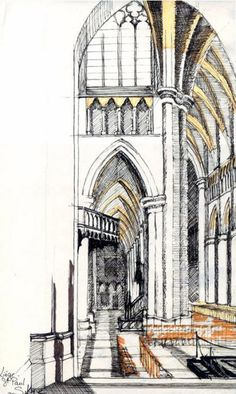 Cathedral of St Paul, Liège, Architectural Drawing by Sylvie Duvernoy, SACI Architectural Drawing Instructor. Learn more about the Art and Design Faculty at Studio Art Centers International on the website.