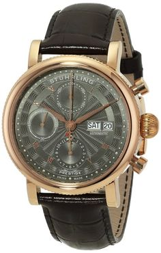 Stuhrling 139.04 - Reloj para hombres, correa de cuero color marrón