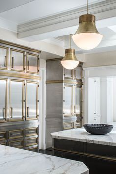 KELLY WEARSTLER | PRECISION LARGE PENDANT. Available in Antique Brass, Bronze and Polished Nickel. Appropriate for small spaces with high ceilings, entryways, and kitchen. Great in multiples.