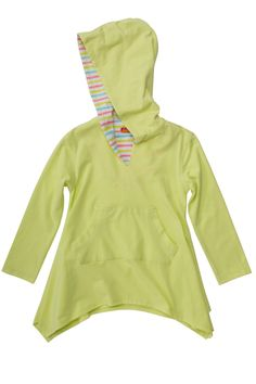 She'll find an excuse to wear this darling knit cover-up over a lot more than just her swimsuit! In a cheerful shade of summery lime green, this cover-up features a cute front pocket and surprise rainbow stripes inside the hood. - Lime knit hoodie cover-up goes great with your favorite swimsuit or jeans - Contrast stripe detail inside hood - Features a single front pocket - Care Instructions: Machine Wash - Made with 58% Cotton/37% Polyester/5% Spandex