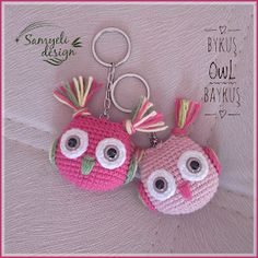 Samyelinin Örgüleri: Pembe Baykuşlar Owl Crochet Patterns, Crochet Owls, Love Crochet, Crochet Gifts, Amigurumi Patterns, Crochet Baby, Knit Crochet, Crochet Keychain Pattern, Crochet Handbags