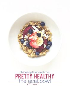 made up of dreamy, frozen acai puree and topped with things like fresh fruit, granola, and coconut. Everything you could want out of breakfast all in one. | The Beauty Department