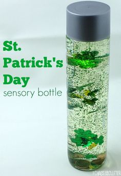 Patrick's Day Sensory Bottle This St. Patrick's Day sensory bottle includes glue to allow the items to move more slowly through the liquid. Sensory Bottles, Sensory Bins, Sensory Activities, Winter Activities, Sensory Play, Activities For Kids, Halloween Activities, Physical Activities, Sensory Therapy