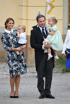 Princess Madeleine with Prince Nicolas and her husband Christopher O'Neil with Princess Leonore