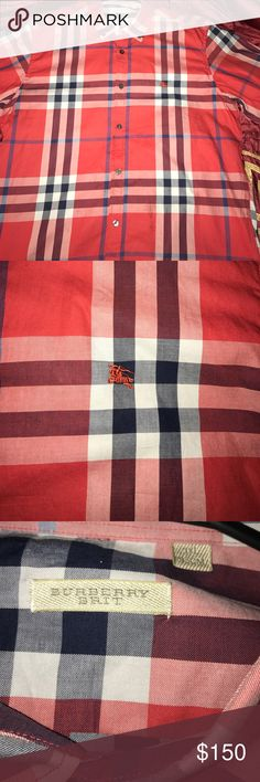 Red Burberry button down shirt Red button down Burberry!! 3xl fit like  XL Burberry Shirts Casual Button Down Shirts