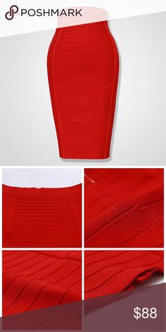 🛒Coming Soon Red High Quality Pencil Skirt Women Women Pencil Skirt Fashion Red Bodycon Bandage Skirts Sexy Knee Length Striped Midi Skirts Queen Esther Etc Skirts Midi