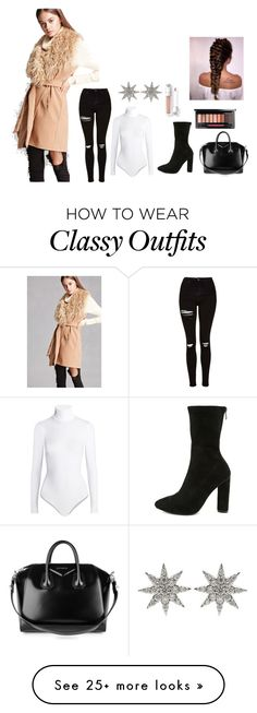 """""""Classy"""" by beautyoctober on Polyvore featuring Forever 21, Topshop, Wolford, Jacobies, Givenchy, Bee Goddess, girly and classy"""