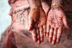 INDIA: FORGET JEWELRY Right before the wedding, it's common for Indian women to gather their closest girlfriends and sit for hours at a time to have their skin intricately painted, in tattoo fashion, with menhdi, which is paint made from henna. The elaborate and beautiful skin art lasts about two weeks making additional accessories totally unnecessary.  45 Fascinating Wedding Traditions from Around the World