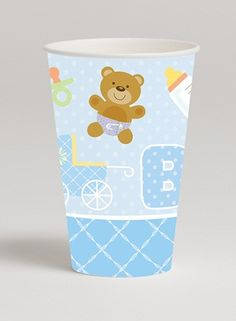 Delight baby shower guests by serving delicious punch in the adorable Teddy Baby Blue 12 oz Hot/Cold Cup.  Each cup features images of baby inspired items such as pacifier, teddy bear, bottle and carriage atop a background pattern of blue and soft white polka dots.  The cup also displays the word �BABY� in coordinating colors of blue, lavender, and soft green.  The bottom of the cup is finished off with a border print of a blue and white cross hatch design.  Teddy Baby Blue cups are sold in…