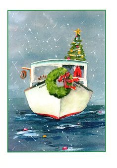 'Santa's Boat' - art note cards http://www.randomartsmagnolia.com/Kate%20Somers%20Watercolor%20Painting%20Art%20Cards.html