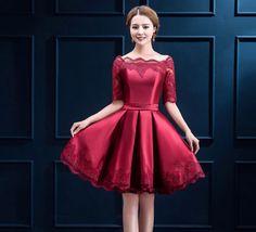 Luxury-Womens-Korean-Lace-Slim-Short-Wedding-Dress-Solid-Color-3-4-Sleeve-Hot