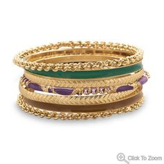 Set of 7 Gold Tone Fashion Bangle Bracelets with Dark Green, Brown, and Purple Enamel