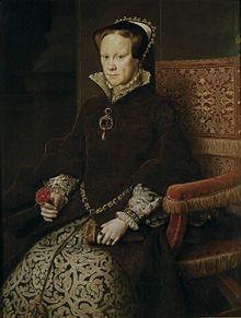 Maria I. 18.2.1516 - 17.11.1558, ab 1553 Königin von England, Tochter von Heinrichs VIII erster Frau Katharina von Aragon. Mit der Scheidung zum Bastard erklärt, 1544 wieder in Thronfolge aufgenommen. Nach dem Tod ihrens Halbbruders Eduard VI und Verdrängung ihrer Cousine Jane Grey wurde sie die erste rechtmäßige Königin von England.