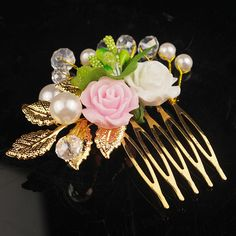 Floral Bridal Tiara Hair Accessories Beauty Headdress Bride Hair Jewelry Handmade Rose Gold Color Hair Comb Hairpin For Wedding  #Affiliate