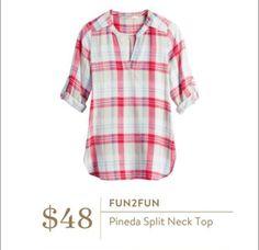 Stitch Fix Fall 2016 - Fun2fun, Pineda Split Neck Top Great plaid top for fall transition