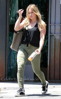 Hilary Duff Sports A Utilitarian Look In Conductor Pants