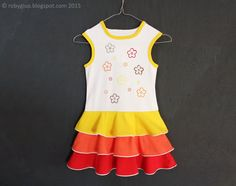 Ombre girl dress yellow orange red painted and by RobyGiup on Etsy