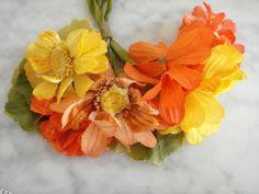 Vintage 1950s millinery hat flower orange yellow velvet taffeta 6 blossom beauty