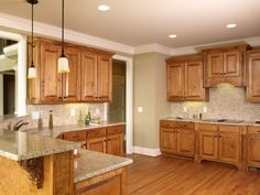 Paint Color Kitchen With Wood Cabinets Light Oak Granite White