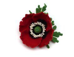 Felted Brooch Dark Red Poppy. $35.00, via Etsy.