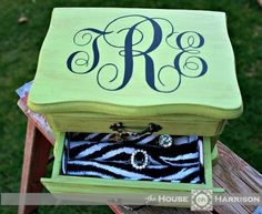 Thrift Store Jewelry Box Makeovers | House On Harrison/circuit cut vinyl on top