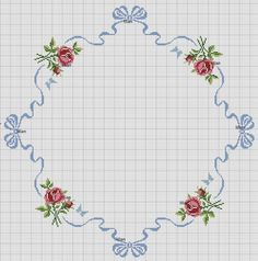 Cross stitch pattern for tablecloth Cross Stitch Borders, Cross Stitch Rose, Cross Stitch Flowers, Modern Cross Stitch, Cross Stitch Charts, Cross Stitch Designs, Cross Stitching, Cross Stitch Embroidery, Embroidery Patterns